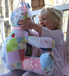 Did a love one pass away that you want your child to remember? Sew together pieces of their clothing into a stuffed animal for them to keep forever.   or use any fabric you like!