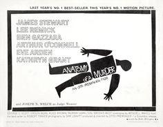 Saul Bass Anatomy of a murder (1959) half sheet movie poster