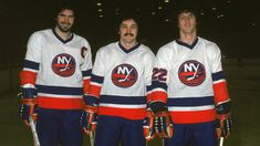 UNIONDALE - 1979: From left, Canadian ice hockey players Clark Gillies, Bryan Trottier, and Mike Bossy of the New York Islanders pose together on the ice in March of 1979 in Uniondale, New York. (Photo by Bruce Bennett Studios/Getty Images)