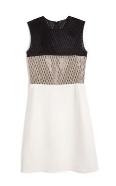 Bonded Linen Netting Combo Dress by Narciso Rodriguez.