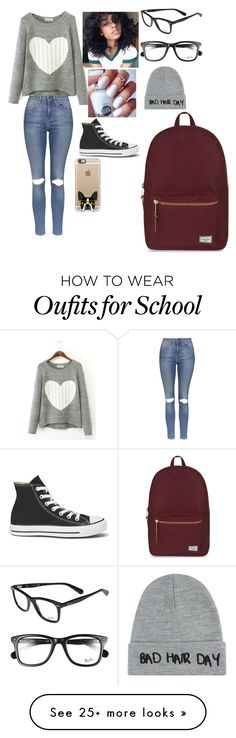 """BACK TO SCHOOL"" by madisonelizebeth on Polyvore featuring Topshop, Converse, Casetify, Herschel Supply Co., Ray-Ban and Local Heroes"