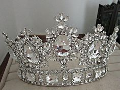 Rhinestone tiara wedding crowns Queen/King head crown gold/silver