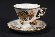 Iridescent Fine Bone China Vintage Tea Cup & Saucer Yellow Roses