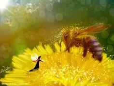 Die Biene ist ein sehr guter Freund der Fee. Weil sie das Licht in der Welt verbreitet.   Make Myday die Abenteuer der kleinen Fee als Kalender und FineArt http://www.spielweltv3galerie.com/shop/make-myday/