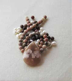 Cherry Blossom Flower Jasper Pendant and Beads, Freshwater Pearls, Brown Aventurine, DIY Jewelry Kit, Gemstone Beads, Jewelry Making Diy Jewelry Kit, Jewelry Making Beads, Artisan Jewelry, Crimp Beads, Cherry Blossom Flowers, Bead Kits, White Freshwater Pearl, Ceramic Beads, Bead Weaving