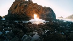 This was the first time I had ever been to Pfeiffer Beach in Big Sur, CA . I was able to get this rad shot as the sun was setting and the tide was pushing through the Keyhole.