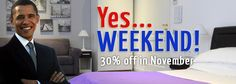 Yes, Week-end!    In November, stay 2 nights in the week-ends or 3 for long-week-ends at 30% off the standard price, breakfast and WI-FI included!    A low-cost week-end in Rome? YES, WE CAN!