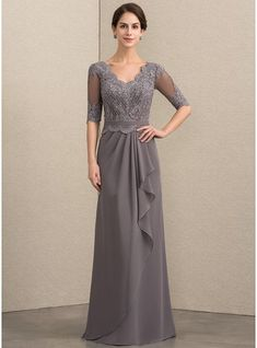 A-Line V-neck Floor-Length Chiffon Lace Mother of the Bride Dress With Beading Sequins Cascading Ruffles - Mother of the Bride Dresses - JJ's House Mother Of The Bride Plus Size, Mother Of The Bride Gown, Mother Of Groom Dresses, Bride Groom Dress, Mothers Dresses, Formal Dresses For Weddings, Wedding Party Dresses, Mob Dresses, Nice Dresses