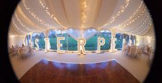 Light up letters & fairy lights in the Oyster Pearl tent!