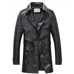 Mens Casual PU Leather Thick Trench Coat Single-breasted Motorcycle Jacket Coat