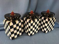 MacKenzie Childs Inspired Hand Painted Three Canisters Kitchen