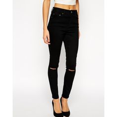 ASOS Ridley Skinny Ankle Grazer Jeans in Clean Black with Ripped Knees (€29) ❤ liked on Polyvore featuring jeans, pants, bottoms, black, distressed jeans, ripped skinny jeans, torn skinny jeans, destructed jeans and distressing jeans