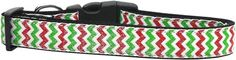 Mirage Pet Products Christmas Sparkle Chevron Nylon Dog Collars, Medium * Visit the image link more details.