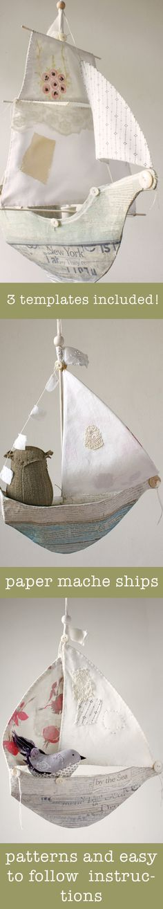 paper mache ship pattern blog post. pattern here: https://www.etsy.com/listing/199990957/paper-mache-ships-3-templates-and?ref=shop_home_active_2
