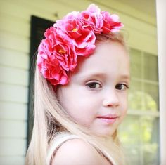 "The ""Lacey"" Headband - Bright Pink Floral Flower Crown Stretch Headband Toddler Girls Womens Wedding Flower Girl"
