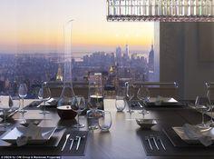 ダイニングルームでは、素晴らしい夕日を眺めながらの夕食を楽しめます。Macklowe Propertiesより。
