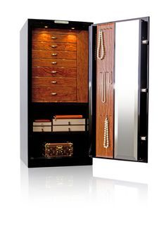 The Gem 4018 is our midsize luxury jewelry home safe, and is our most popular model. The height of this model allows easy access to the jewelry box drawers for convenient daily use.