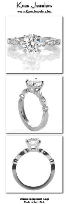 This engagement ring design is an elegant update to a classic solitaire setting. The band's scalloped outline and differing stone settings make it a unique addition to a timeline ring design. At the center, a four prong basket holds a glittering 1.00 carat round diamond and milgrain edging adds a vintage inspired finishing touch. From out of town? No problem. Check out our Try Before you Buy Program. For more information click on the pin. #engagement #wedding #ring