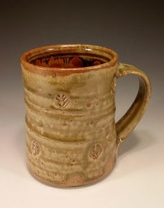 Large handmade pottery coffee mug in soft green by BillvanGilder