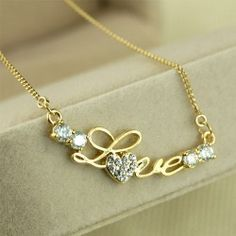 Fashion Crystal Letter Love Pendant Women's Necklace
