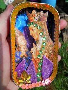 Recycled Sardine Tin Pocket Sized Mini Shrine Catholic Saint