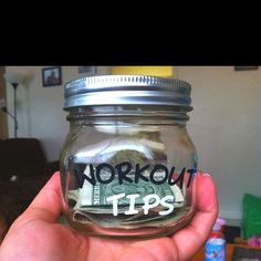 Tip yourself $1 each time you workout and after every 100 workouts, buy something you deserve. Might have to do this as a New Years I actually really like this idea!!!