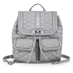 Rebecca Minkoff Quilted Love Leather Backpack (€335) ❤ liked on Polyvore featuring bags, backpacks, accessories, apparel & accessories, charcoal, snap backpack, rebecca minkoff backpack, strap backpack, quilted leather backpack i knapsack