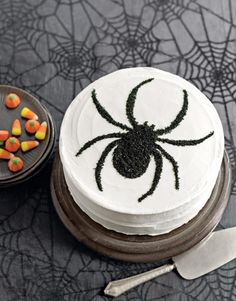 Halloween Templates - Printable Halloween Stencils and Templates - Country Living cut out stencil of spider, place on top of cake and sprinkle w/dusting sugar leaves a FUZZY SPIDER IMAGE Halloween Desserts, Menu Halloween, Bolo Halloween, Recetas Halloween, Halloween Treats For Kids, Halloween Cakes, Easy Halloween, Holiday Treats, Holiday Recipes