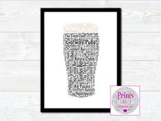 Pint of Galway Pubs Wall Art Print With Some of the Best Known Pubs from around the County by JumbleinkArt on Etsy Irish Quotes, Fathers Day Presents, Portrait Images, Irish Art, Frame Shop, Wall Art Prints, Digital Prints, Ireland, Etsy