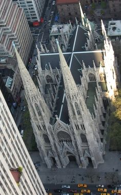 St. Patrick's Cathedral in New York, NY. I love the way the cross culminates in raised spires, like pinpoints reaching up to the Heavenly Father from the cross.