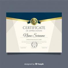 Modern certificate template in flat style Vector Certificate Design Template, Certificate Of Appreciation, Powerpoint Background Design, Vector Free Download, Flat Style, Ganesh, Islamic Art, Austria, Body Art