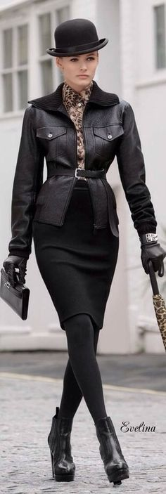 Evelina&Pinterest Black White Red, Winter Looks, Leather Fashion, Beautiful Outfits, Peplum Dress, Stylists, Womens Fashion, How To Wear, Fashion Design