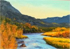 """Paintings from one of two of the Dix Baines Studio Auctions l """"Notes and Brushstrokes #8"""" l 5x7 I Dix Baines I Fine Artist l Original Oil Paintings I Rivers l Rio Grande l Autumn Color I New Mexico l Auctions l www.dixbaines.com/studio-auctions"""