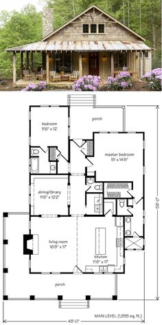 floor plan: 2 bdrn, enlarge entry by moving door out, could fit on narrow lot (remove side porch), love the DR/library combo, could change entry to 2nd bath and add bsmnt stairs, Whisper Creek Plan