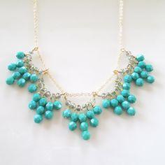 Aqua Crystal Bib Necklace Gold Aqua Blue Crystal by 10west on Etsy