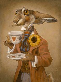 March hare - мартовский заяц Tea time: Alice in wonderland Alice In Wonderland Rabbit, Alice In Wonderland Illustrations, Alice In Wonderland Original, Alice In Wonderland Paintings, Alice Rabbit, March Hare, Rabbit Art, Rabbit Hole, Adventures In Wonderland