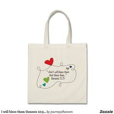 I will bless them Genesis Christian Hearts Budget Tote Bag Gift From Heaven, Cute Gifts, Budgeting, Blessed, Reusable Tote Bags, Hearts, Shop My, Christian, Beautiful Gifts