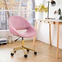 Shop OVIOS Cute Desk Chair Plush Velvet Office Chair for Home or Office,Modern,Comfortble Nice Task Chair for Computer Desk - Overstock - 30999050 - Gold/Pink Velvet Office Chair, Best Office Chair, Swivel Office Chair, Office Chairs, Desk Chairs, Dining Chair, Cool Chairs, Table Lamp, Pink Office