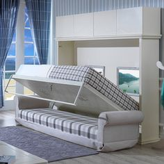 Source Space Saving Wall Mounted Modern Transformable Folding Wall Bed With Sofa on m.alibaba.com Modern Bedroom Furniture, Furniture Design, Smart Furniture, Wall Folding Bed, Folding Sofa, Beds For Small Rooms, Small Spaces, Hidden Wall Bed, Bed Price