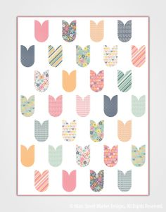 Natalie quilt pattern, tulips, at Main Street Market Designs