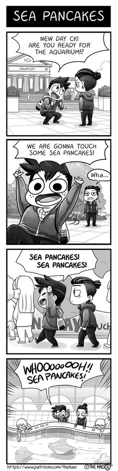 Sea Pancakes! (I'm pinning this almost entirely because the cartoonist clearly based it on the Shedd Aquarium in Chicago, and I love that place!)