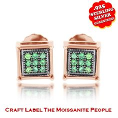 "1/6 Round Green Genuine Diamond 14K Gold Micro Pave Stud Earrings ""Mother\'s Day Gift"". Starting at $59"