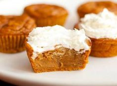 Impossible Pumpkin Pie Cupcakes  15 oz can pumpkin puree 1/2 c sugar 1/4 c brown sugar 2 large eggs 1 tsp vanilla extract 3/4 c evaporated milk 2/3 c all purpose flour 2 tsp pumpkin pie spice 1/4 tsp salt 1/4 tsp baking powder 1/4 tsp baking soda