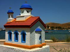 Colorful roadside shrine, Vourkari, Kea island, Cyclades, Greece