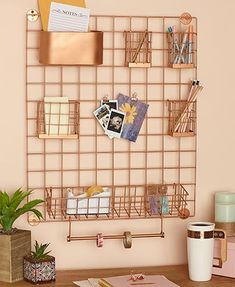 Keep your home office, dorm room, or other space neat and organized with this Multifunctional Metal Grid Wall Organizer. Small Binder, Diy Wall Decor For Bedroom, Metal Grid, Love Wall, Woodland Nursery Decor, International Paper Sizes, Diy Canvas Art, Wall Organization, Baby Deer