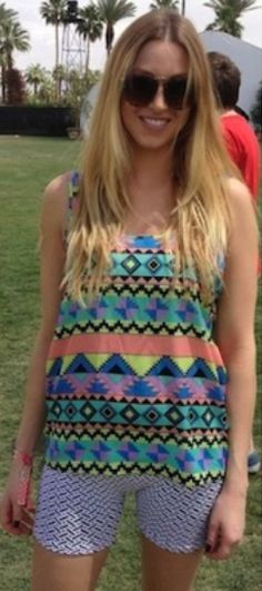 Whitney Port at Coachella on April 13th in a tribal-inspired Whitney Eve tank top.