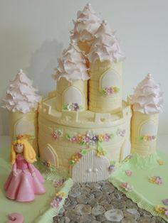 Princess Castle Cake - Cake by Shereen Fairy Castle Cake, Castle Cakes, Fondant Cakes, Cupcake Cakes, Cake Story, Royal Cakes, Fantasy Cake, Princess Castle, Princess Theme