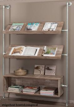 Wall fitted rack for magazines and other literature. Room Interior, Interior Design Living Room, Living Room Decor, Pipe Furniture, Pallet Furniture, Home Projects, Home And Living, Shelving, Pipe Shelves