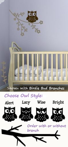 Hoot Owl wall decals stickers    Cute for a baby room
