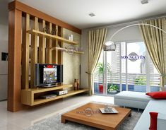 Modern room partitions have many uses. They can divide a large room into smaller areas, separate a room, enhance your privacy, define a space or decorate Living Room Partition Design, Living Room Divider, Room Partition Designs, Living Room Tv Unit Designs, Living Room Decor, Modern Tv Units, Modern Room, Home Interior Design, Wall Ideas